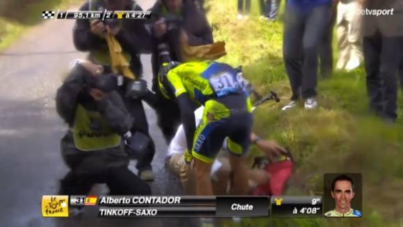 Contador er styrtet og udgået ! Alberto Contador, cykling, riis, tour de france,