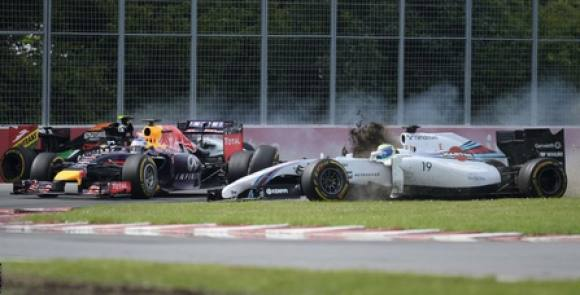 F1: Se det vilde crash der gav Magnussen point! Formel 1, Canada, Kevin Magnussen, Perez, Massa, video